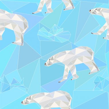 seamless  low poly pattern with polar bears