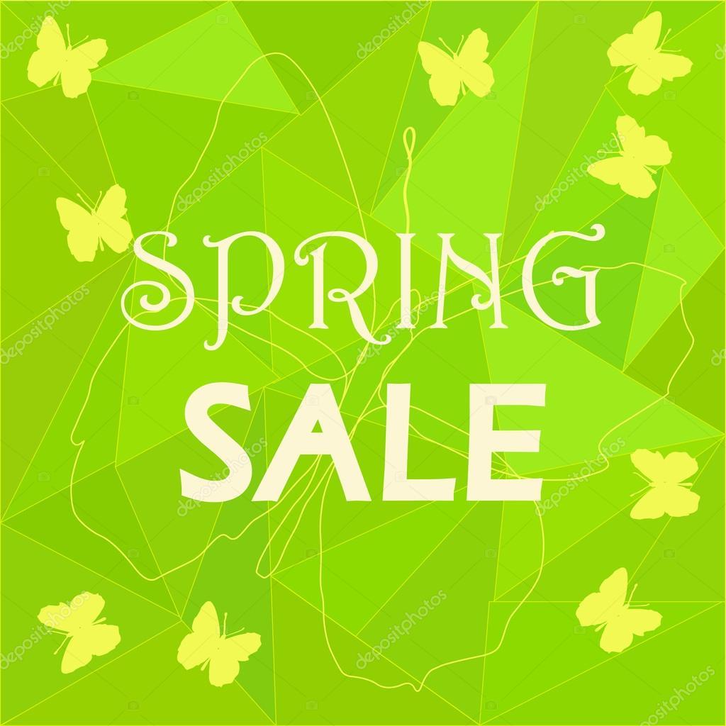 Frühling Verkauf Anzeige Vorlage auf niedrigen Poly-Hintergrund ...