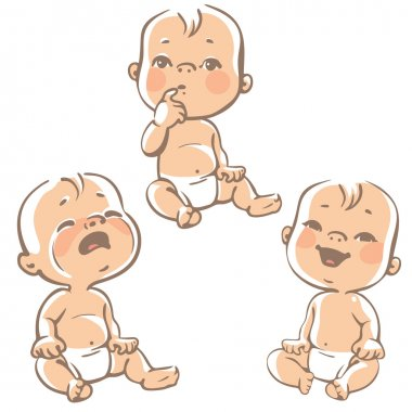 Set of baby emotion icons.