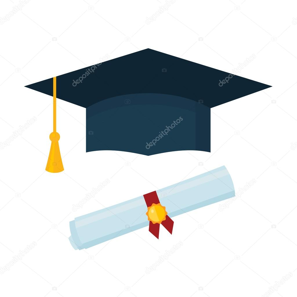 graduation cap and diploma scroll on white background stock  graduation cap and diploma scroll on white background stock vector 108326888