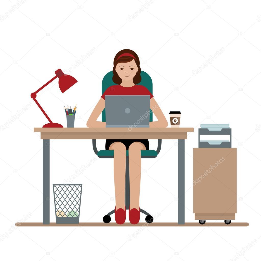 Kad n veya office masas nda al an bir memuru stok for Oficina de empleo algeciras