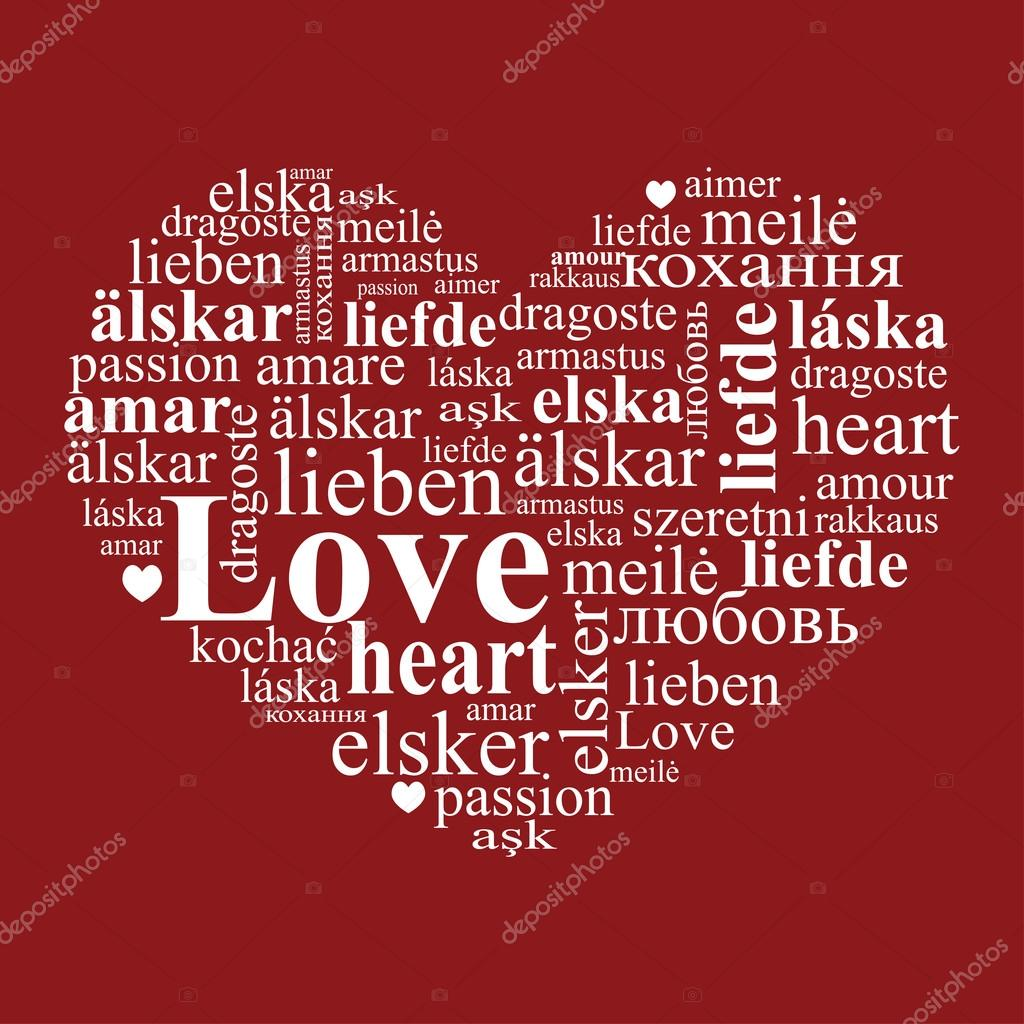 Un Corazón Hecho De Palabras Con Amor Vector De Stock Alazur