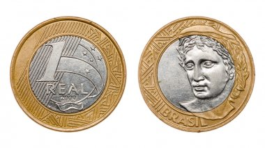 One real coin front and back faces