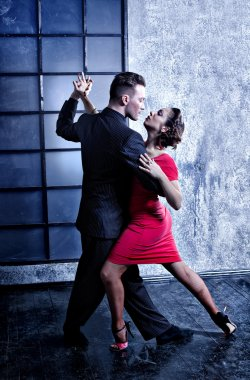 Argentine tango dancers in the studio