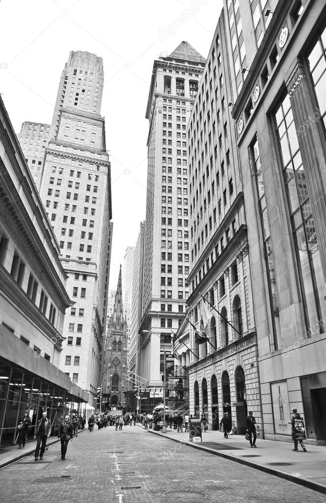 The financial district on the Wall Street in New York City
