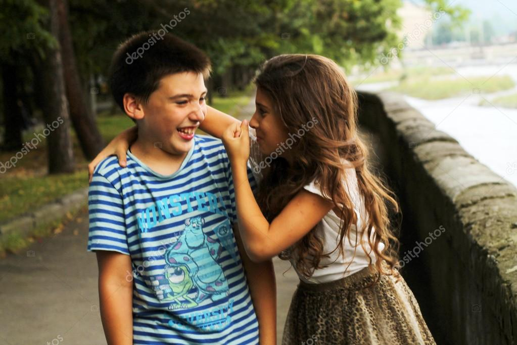Cute Girl And Boy In Park Stock Editorial Photo