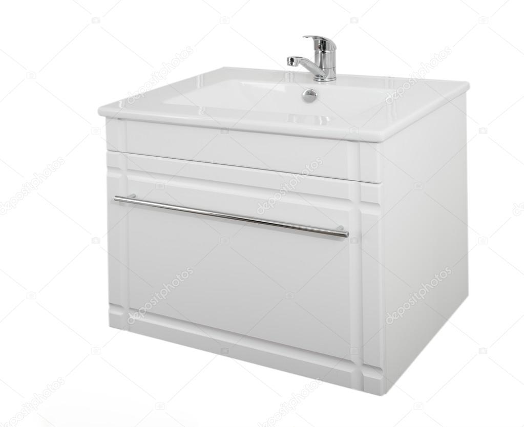 Witte kast met wastafel gemaakt van hout particle board lamina