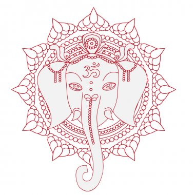 Greeting Beautiful card with Elephant.  Design elements for birthday and other holiday.  Hinduism God Ganesha with mandala. Line art indian religion