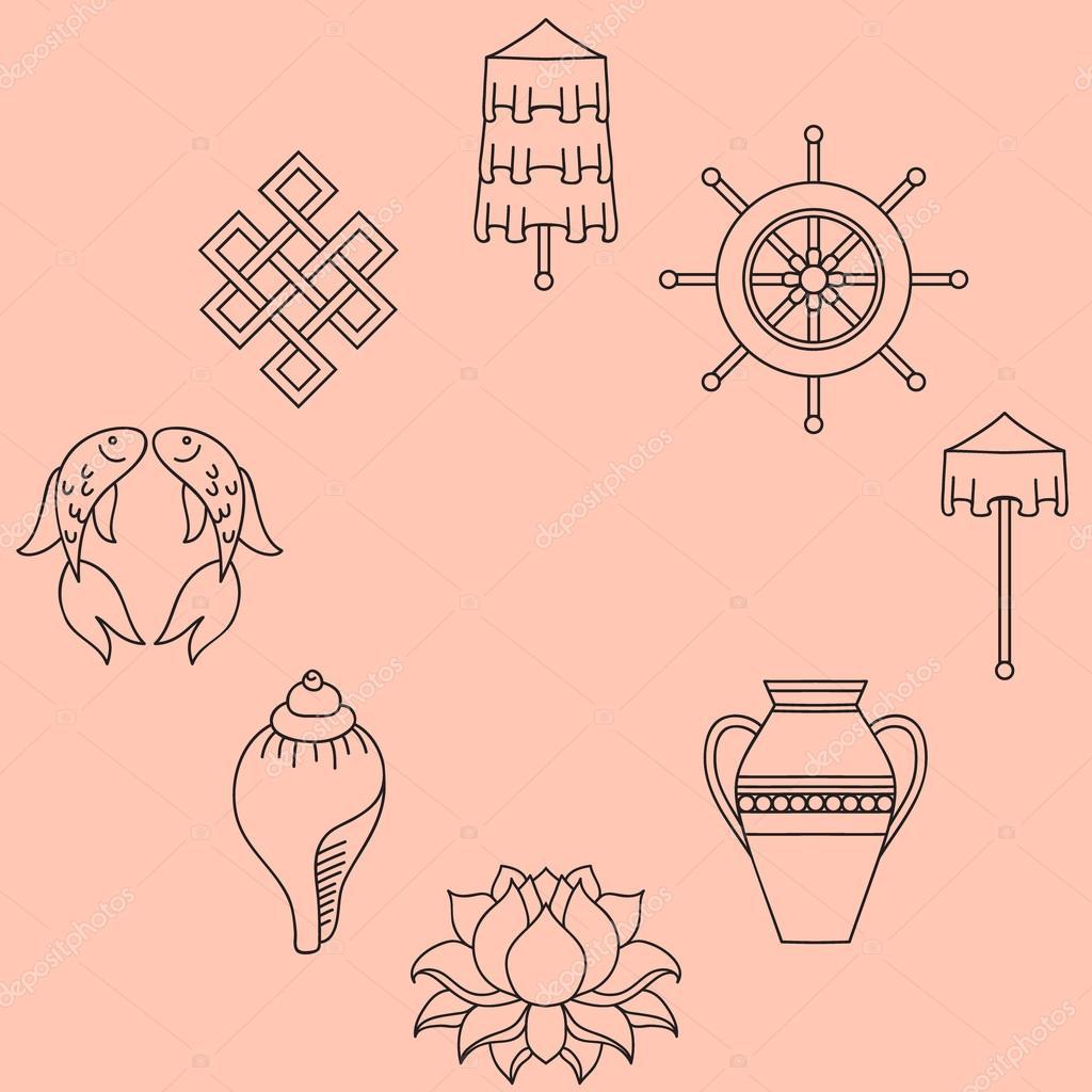 Buddhist symbolism the 8 auspicious symbols of buddhism right buddhist symbolism the 8 auspicious symbols of buddhism right coiled white conch precious umbrella victory banner golden fish dharma wheel buycottarizona Gallery