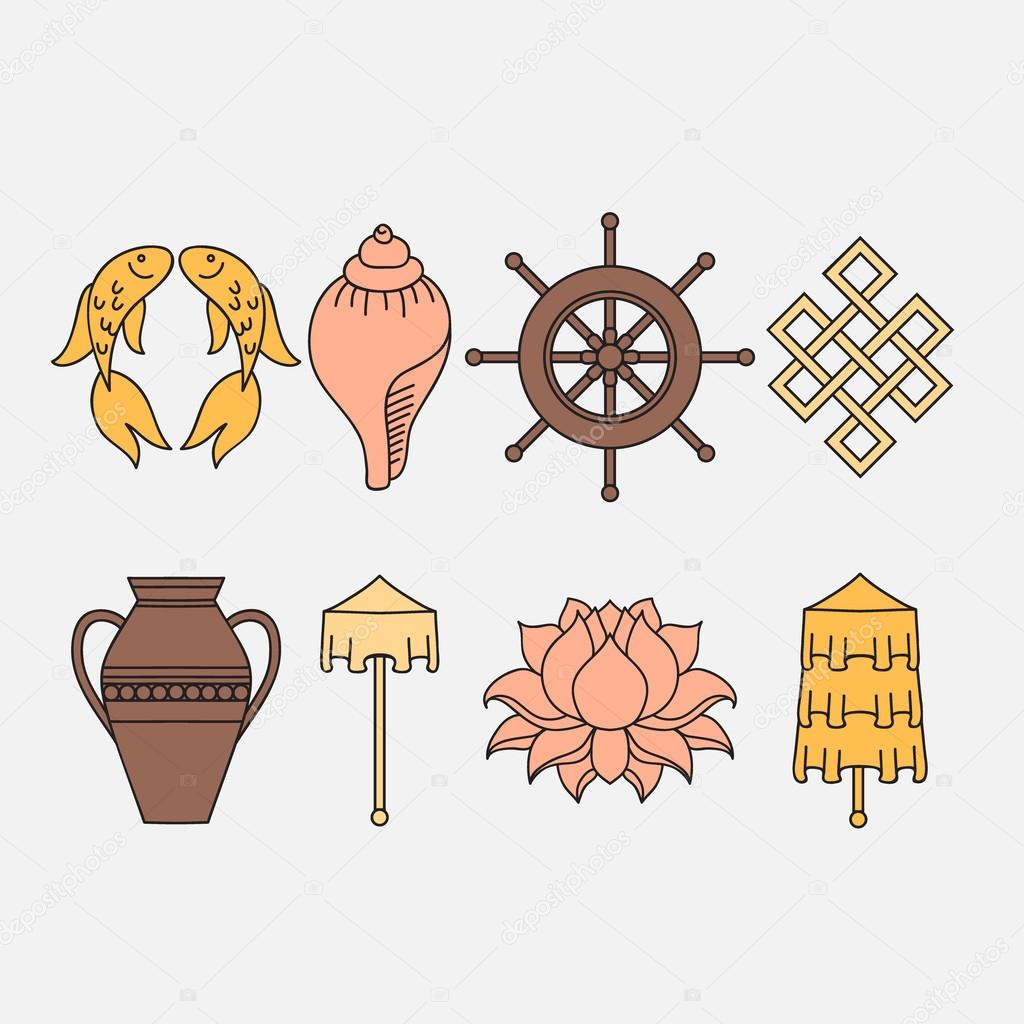 Buddhist symbolism the 8 auspicious symbols of buddhism right auspicious symbols of buddhism right coiled white conch precious umbrella victory banner golden fish dharma wheel auspicious drawing lotus flower mightylinksfo Choice Image