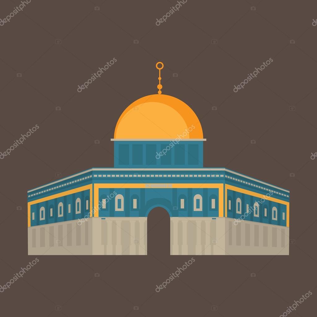 Al Aqsa Mosque In Jerusalem Israel Dome Of The Rock Religios Architecture Stock Vector C Anastasiaromb 124096238
