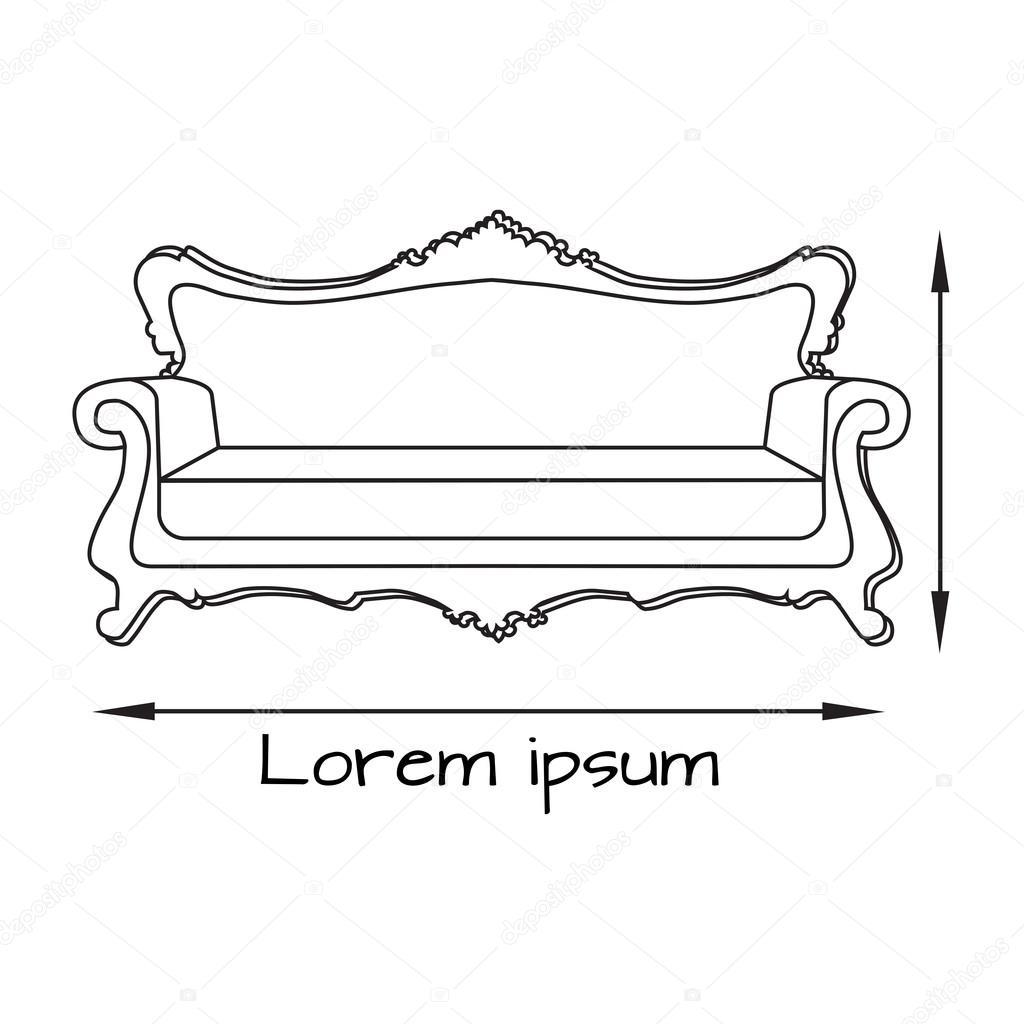 dessin d'illustration du canapé. icône de canapé — image vectorielle