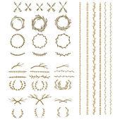 starověké věnec, oddělovače textu a ohraničení s listy vavřínu,