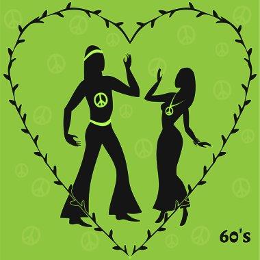 two hippie dancers,retro illustration of sixties