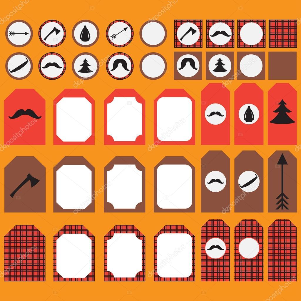 Para imprimir conjunto de elementos de parte de leñador vintage ...