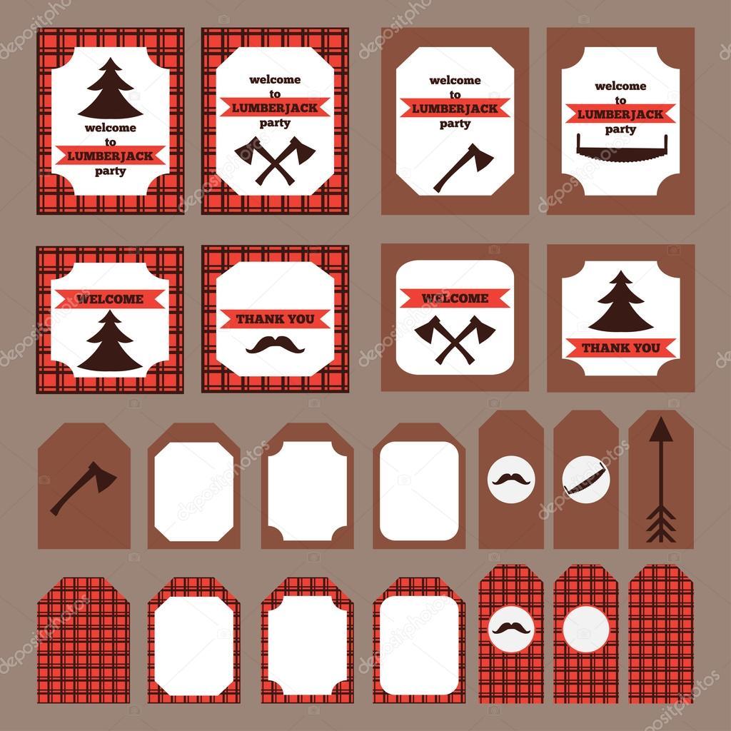 printable set of vintage lumberjack party elements templates