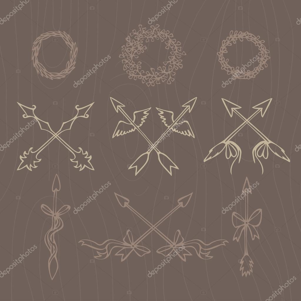 Hand drawn illustration. Vintage decorative lovely set of laurels, branches and wreaths. Doodle greek ancient  wreath, text dividers and borders