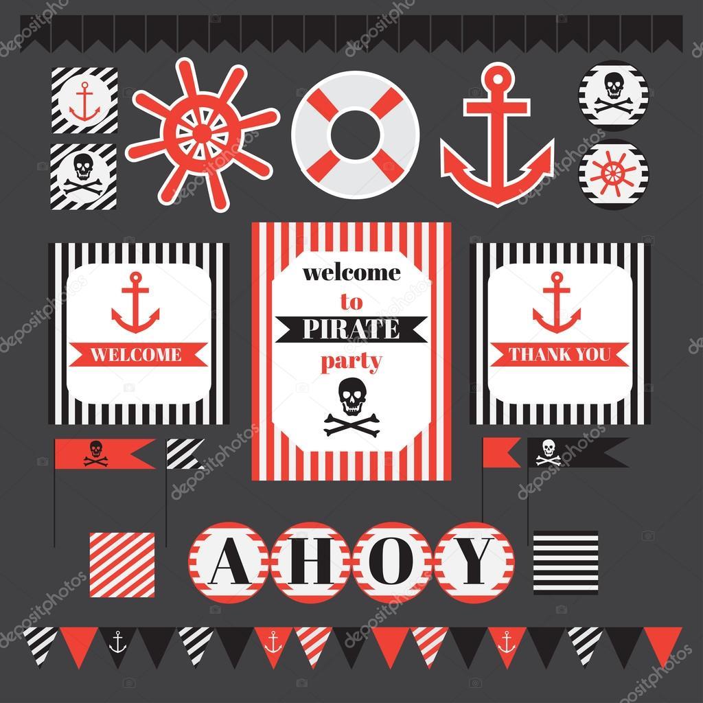 Conjunto para imprimir de piratas vintage parte elementos — Archivo ...