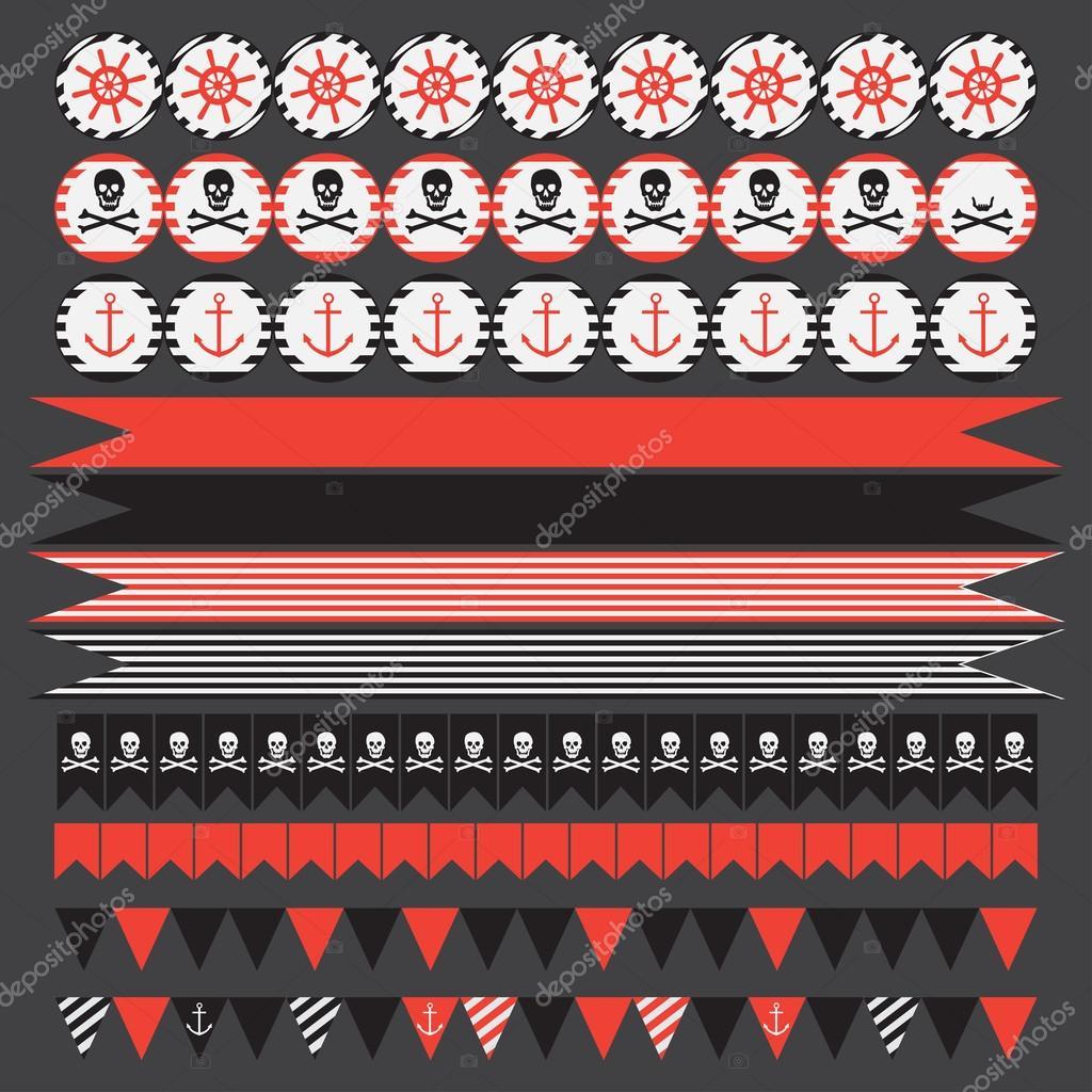 Conjunto para imprimir de piratas vintage parte elementos — Vector ...