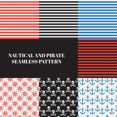 vintage nautical and pirate seamless pattern