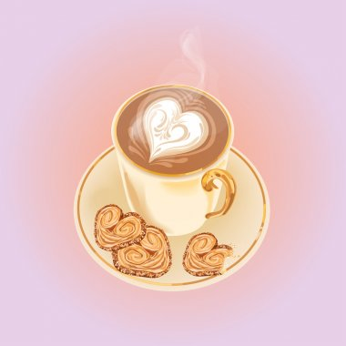 illustration with cup of coffee on the pink background