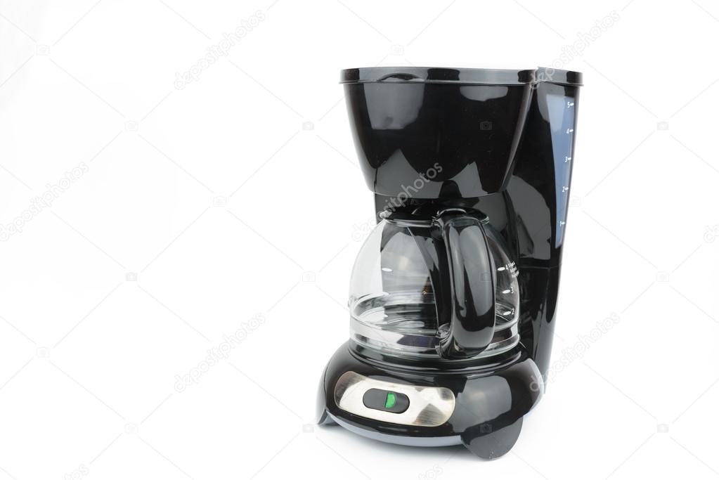 schwarz Kaffeemaschine auf weißem Hintergrund — Stockfoto ...