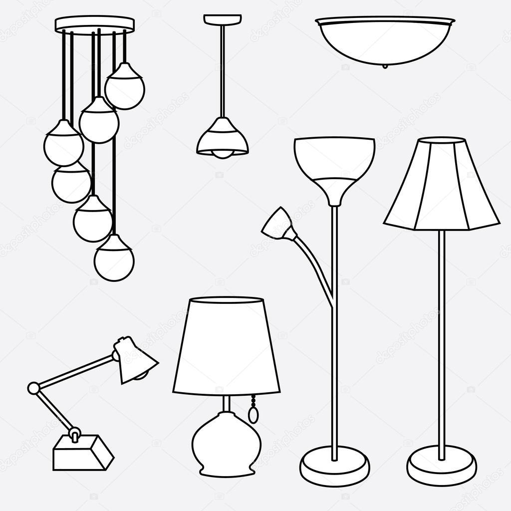 vector van lamp collectie, soorten verlichting — Stockvector ...