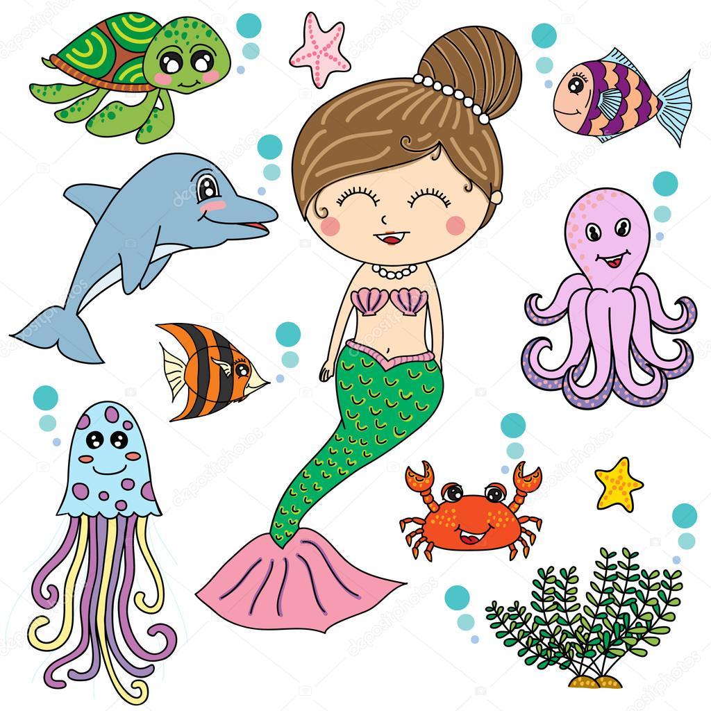 Sirena con mare animali cartone animato disegno vettoriale