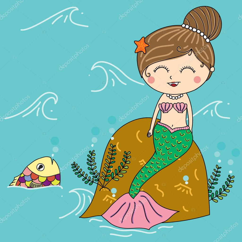 illustration of mermaid in the sea with colorful fish smiling f