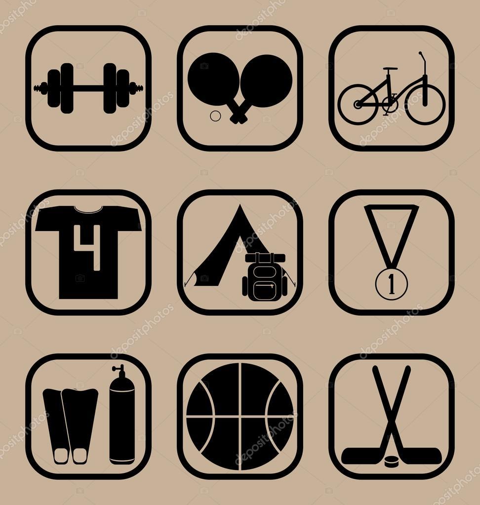 bfaa807b73 Σύνολο διάνυσμα εικονιδίων που αντιπροσωπεύουν έννοιες εξοπλισμού και  άθλημα άθλημα — Διάνυσμα με ...
