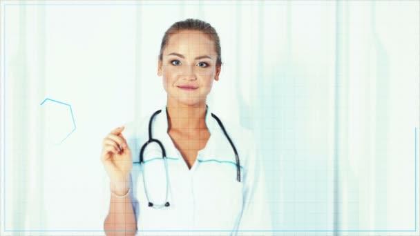 Mladý ženský lékař stojící a stisknutím moderní lékařské typ tlačítka