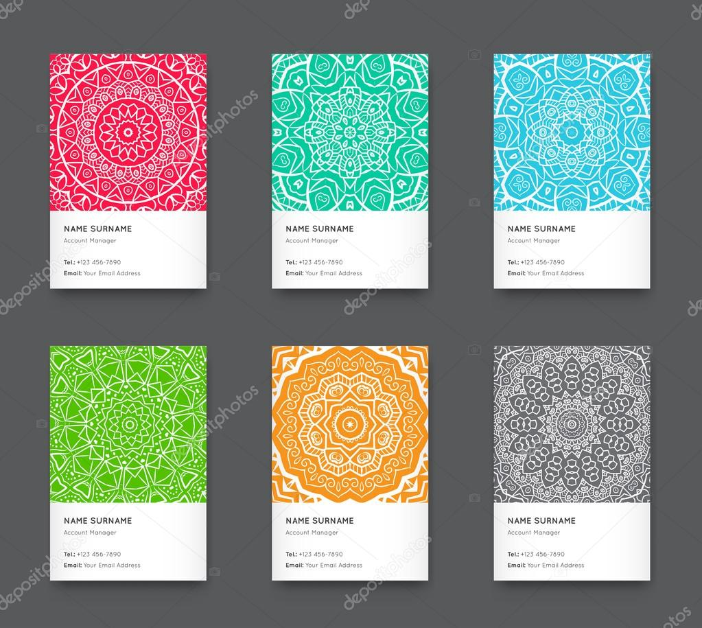 trendy business cards set stock vector