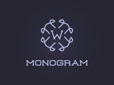 Monogram Design Template with Letter W