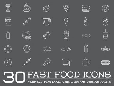 Set of Fast Food Elements Icons