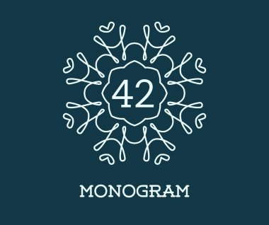 Monogram Design Template with Number 42