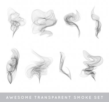 Vector Collection or Set of Realistic Cigarette Smoke or Fog or Haze with Transparency Isolated can be used with any Background stock vector