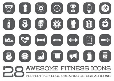 Fitness Aerobics Gym Elements and Icons