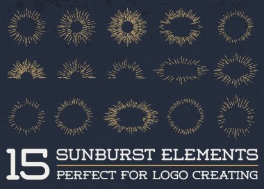 15 Sun burst vintage shapes collection set of sun ray frames retro vector design elements stock vector