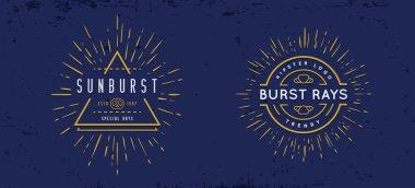 Sun burst vintage shapes elements
