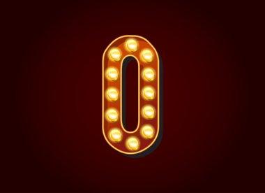 Light bulb digits number 0