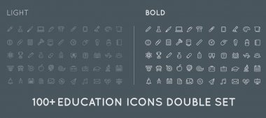 Set of Thin and Bold Education Icons