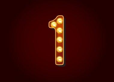 Light bulb digits number 1