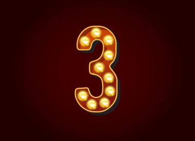 Light bulb digits number 3