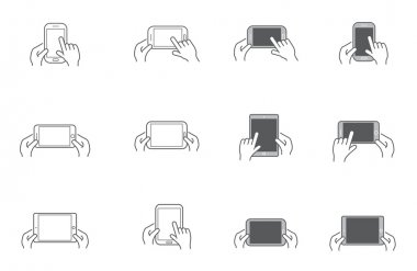 Icons with Hands Holding Smart Device