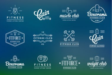 Set of Fitness Aerobics Gym Elements