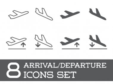 8 Aircraft or Airplane Icons Set Collection Vector Silhouette Arrivals Departure stock vector