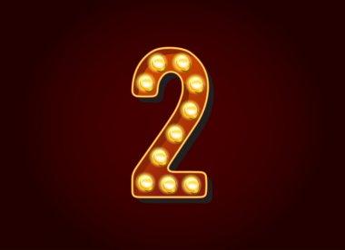 Light bulb digits number 2