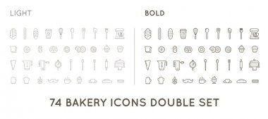 Set of Bakery Pastry Elements
