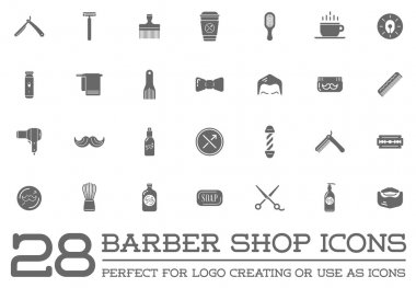 Barber and Shave Shop Elements Icons