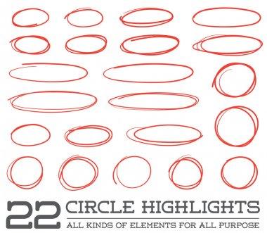 Red Hand Drawn Circles Set